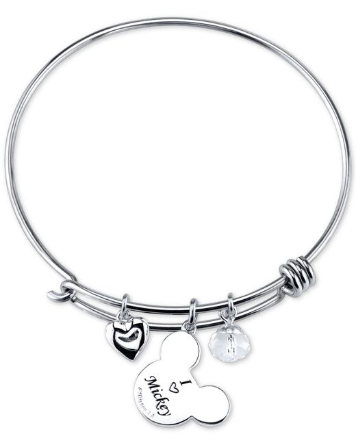 Mickey Mouse Charm Bracelet: Disney Mickey Mouse Crystal Charm Bracelet In Stainless