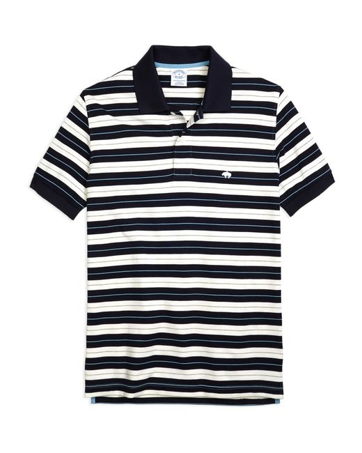 Brooks Brothers   Blue Slim Fit Tipped Collar Stripe Polo Shirt for Men   Lyst