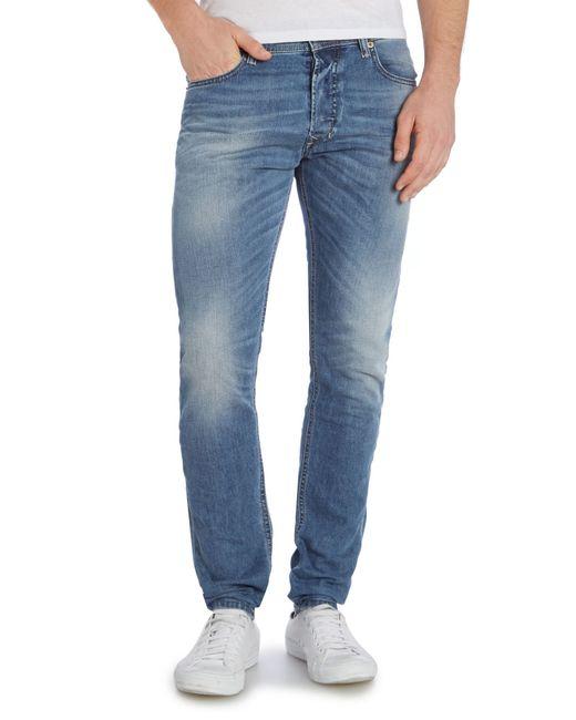 diesel tephhar 842h slim fit stretch jeans in blue for men. Black Bedroom Furniture Sets. Home Design Ideas