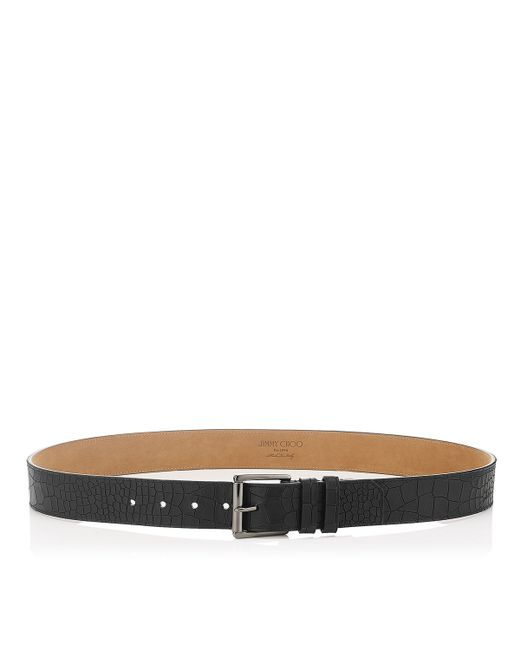 Jimmy Choo | White Archer Black Croc Embossed Leather Belt for Men | Lyst