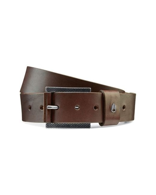 nixon americana leather belt in brown for
