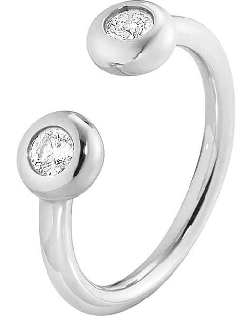 Georg Jensen | Metallic Aurora 18ct White-gold And Diamond Ring | Lyst