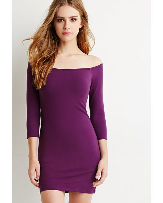 Forever 21   Purple Off-the-shoulder Bodycon Dress   Lyst
