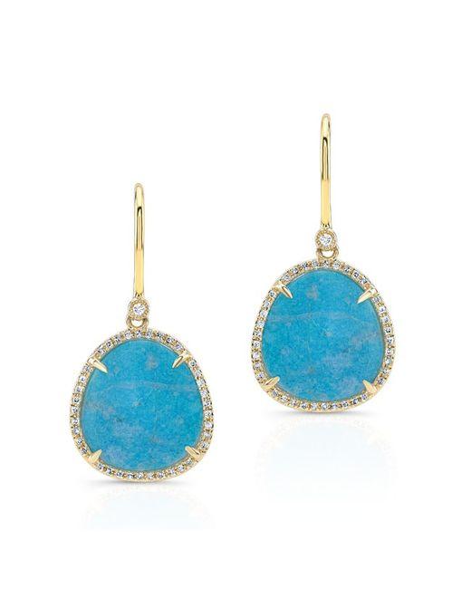 Anne Sisteron - 14kt Yellow Gold Blue Apatite Diamond Mini Organic Earrings - Lyst