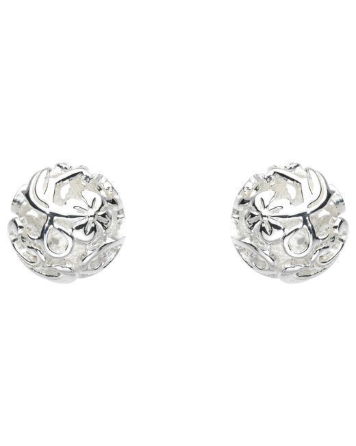 Kit Heath | Metallic Sterling Silver Carved Ball Stud Earrings | Lyst