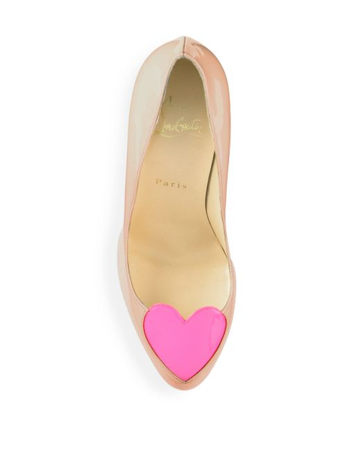 christian louboutin mens shoes spikes - christian louboutin printed patent leather heart-toe pumps, pink ...