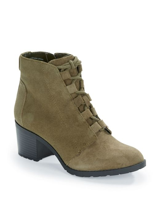 Anne Klein | Green Kadey Lace-up Suede Booties | Lyst