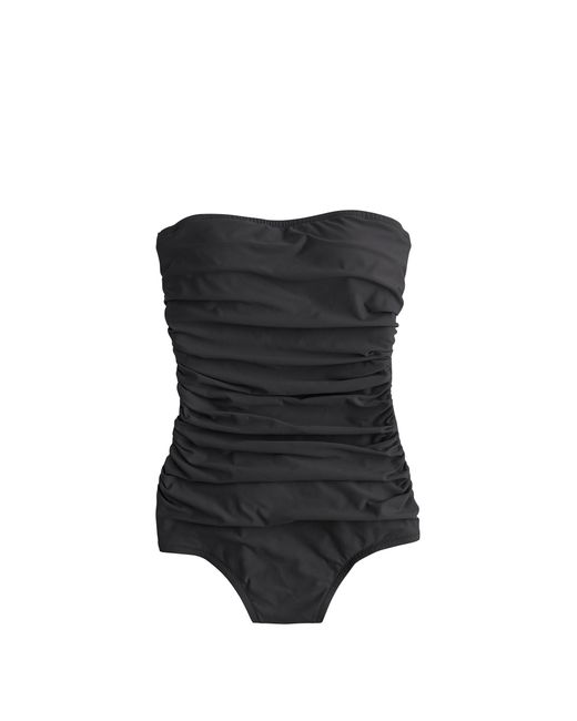 J.Crew   Gray Long Torso Ruched Bandeau One-piece Swimsuit   Lyst
