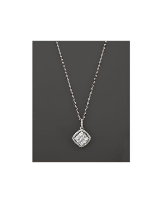 "Roberto Coin | 18k White Gold Diamond Square Drop Pendant Necklace, 18"" | Lyst"