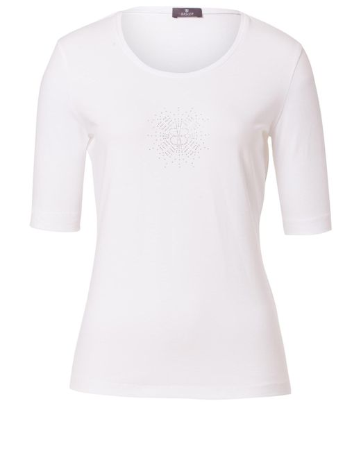 Basler | White T-shirt With Logo-application | Lyst