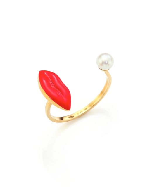 Delfina Delettrez | Red Anatomik 4mm White Pearl Lips Ring | Lyst