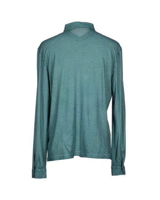Massimo alba polo shirt in green for men dark green lyst for Dark green mens polo shirt