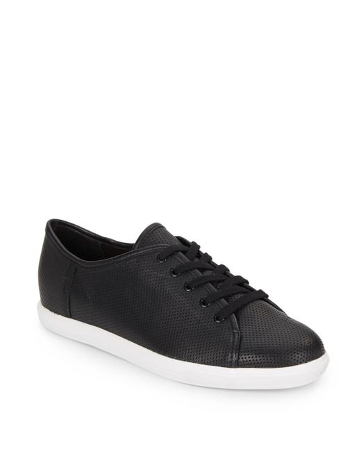 French Connection | Black Finley Leather Sneakers | Lyst