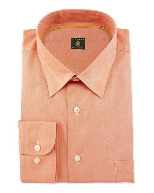 Robert talbott solid woven dress shirt in orange for men for Robert talbott shirts sale