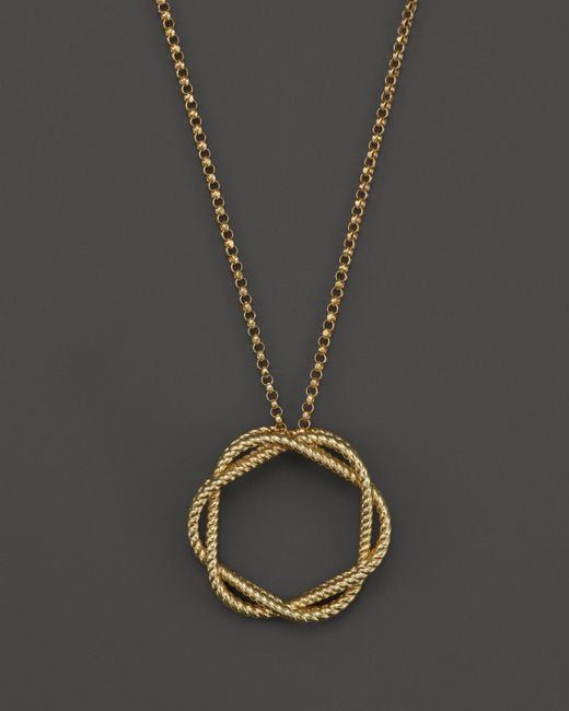 Roberto Coin | Metallic 18k Yellow Gold Medium Twisted Circle Pendant Necklace, 16"