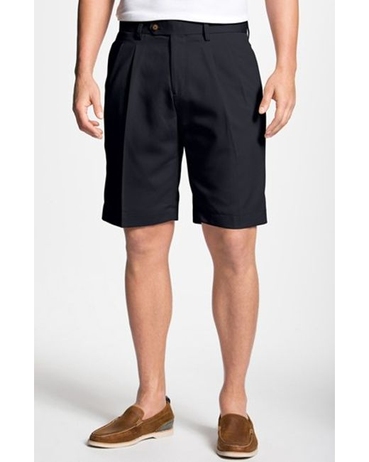 Cutter & Buck | Blue Double Pleated Microfiber Twill Shorts for Men | Lyst