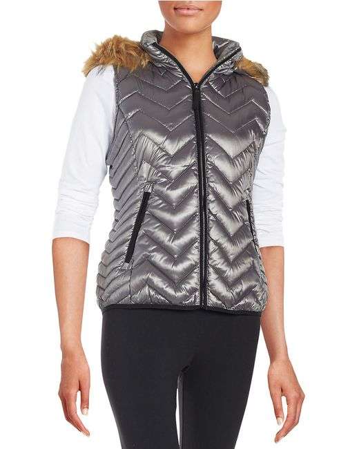 Calvin Klein | Gray Faux Fur-trimmed Quilted Vest | Lyst