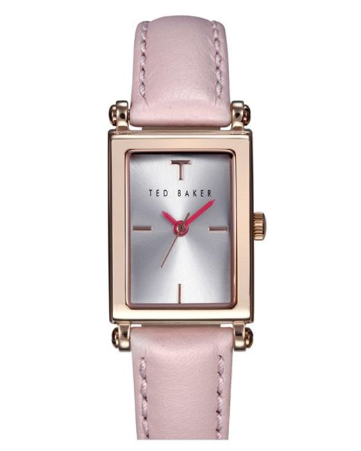 Ted Baker | Pink 'bliss' Rectangle Case Leather Strap Watch | Lyst