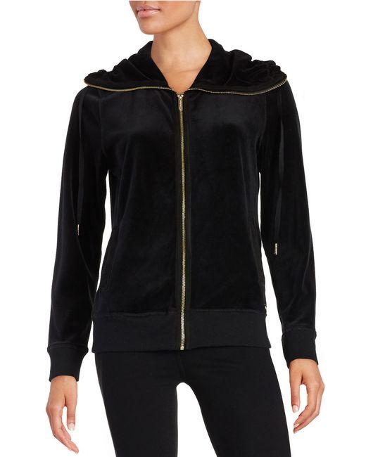Calvin Klein | Black Sueded-trim Funnelneck Jacket | Lyst