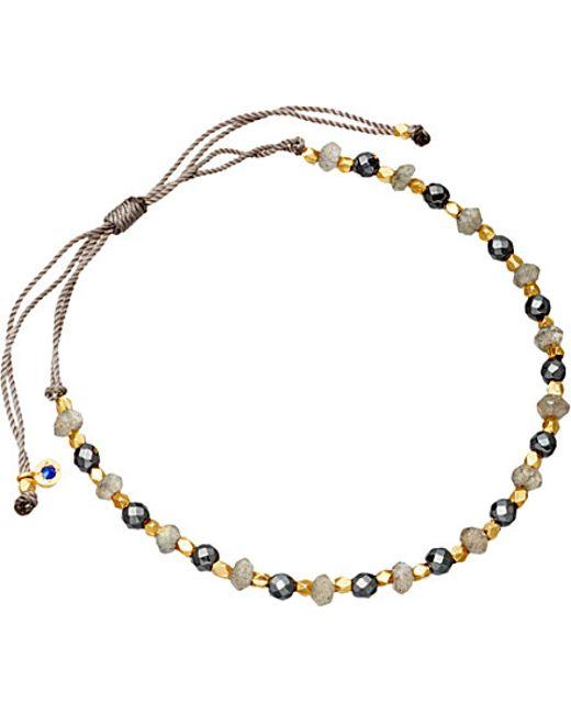 Astley Clarke | Gray 18ct Gold Vermeil Grey Cord Bracelet | Lyst