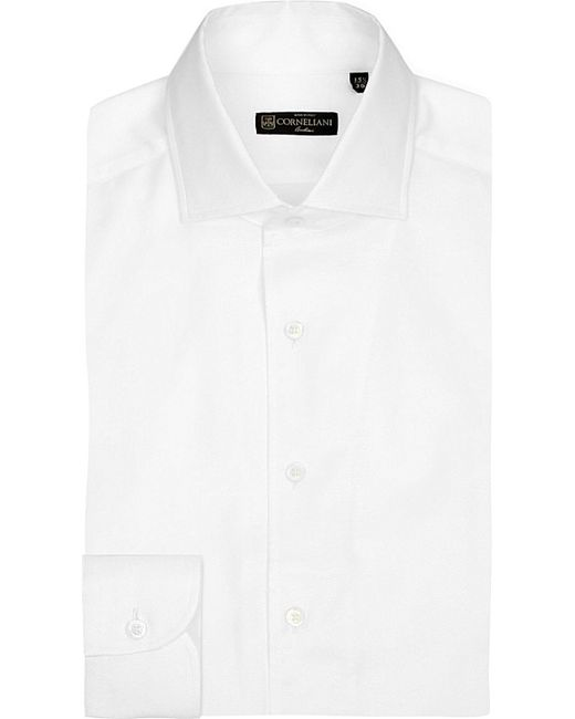 Corneliani | White Slim-fit Textured Cotton Shirt for Men | Lyst