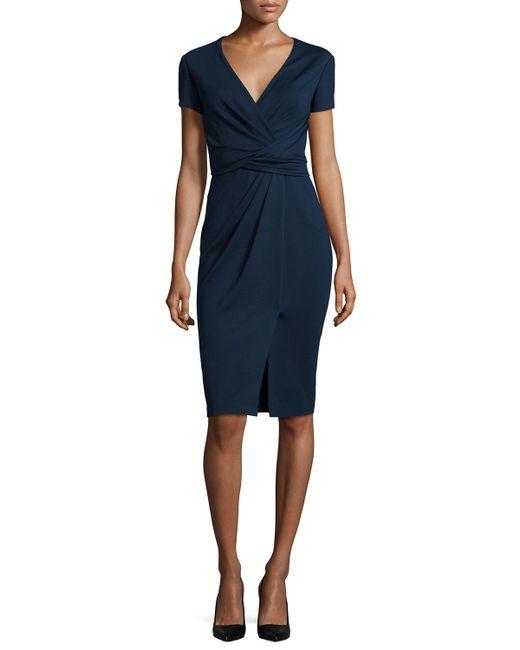 Jason Wu | Blue Short-sleeve Ponte Wrap-front Dress | Lyst
