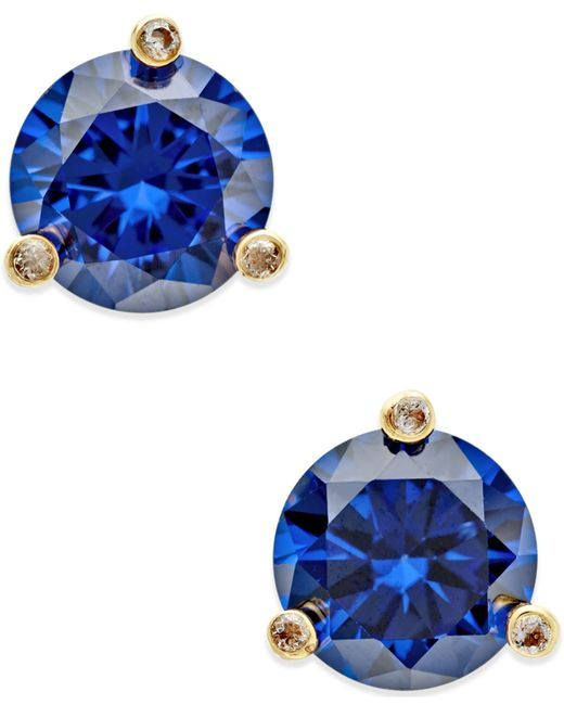 Kate Spade | Blue Gold-tone Mini Round Stud Earrings | Lyst