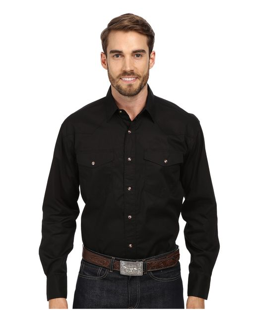 Roper l s solid basic snap front in black for men lyst for Mens shirts with snaps instead of buttons