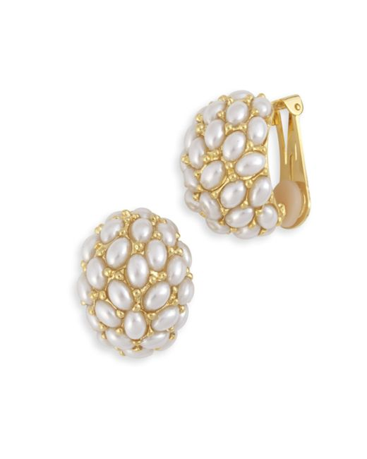 Kenneth Jay Lane | Metallic Pearl Cabochon Hoop Clip Earring | Lyst