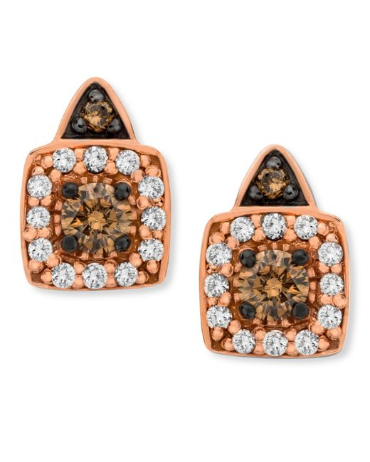 Le Vian | Metallic Chocolate By Petite Brown And White Diamond Stud Earrings In 14k Rose Gold (1/3 Ct. T.w.) | Lyst