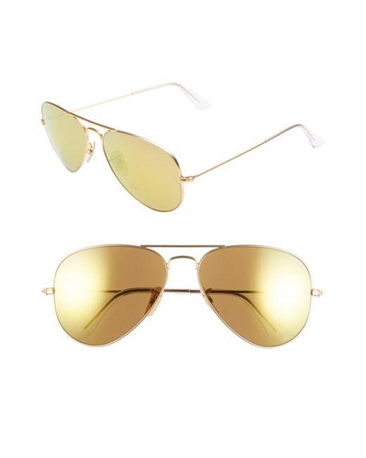 Ray-Ban | Metallic Original Aviator 58mm Sunglasses for Men | Lyst