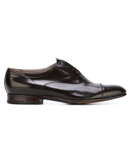 premiata stacked heel oxford shoes in black for brown