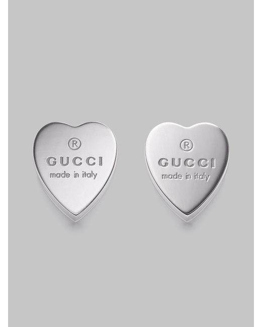 Gucci | Metallic Sterling Silver Heart Earrings | Lyst