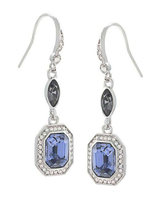 Carolee | Metallic Silvertone Blue Crystal Drop Earrings | Lyst