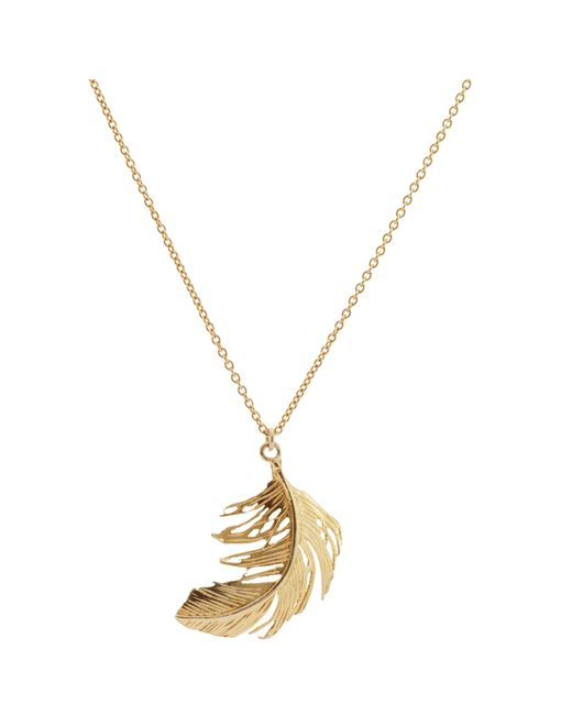 Alex Monroe | Metallic Big Single Feather Pendant Necklace | Lyst