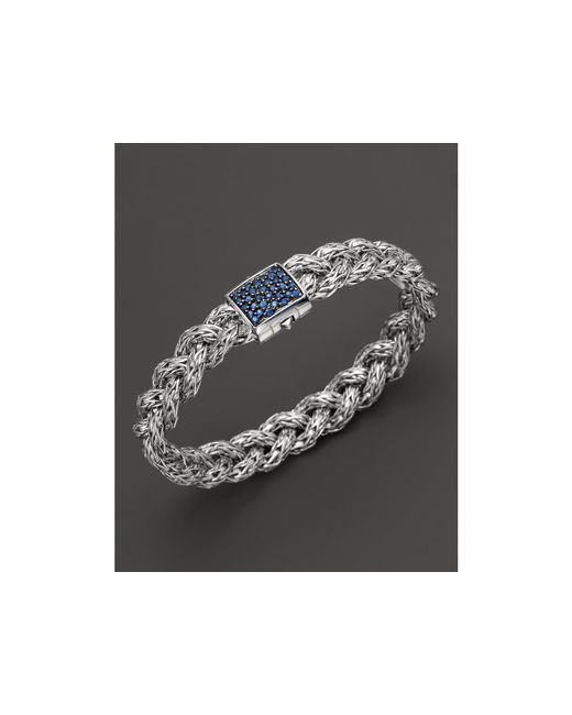 John Hardy | Classic Chain Silver Small Braided Chain Silver Bracelet With Blue Sapphires | Lyst