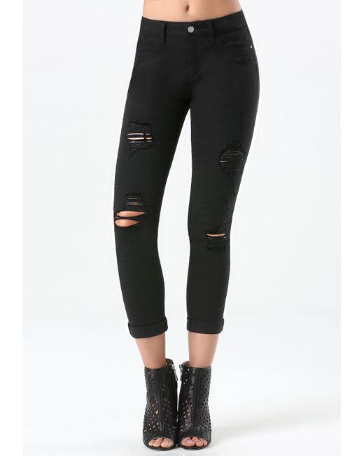 Bebe | Black Ripped Heartbreaker Jeans | Lyst