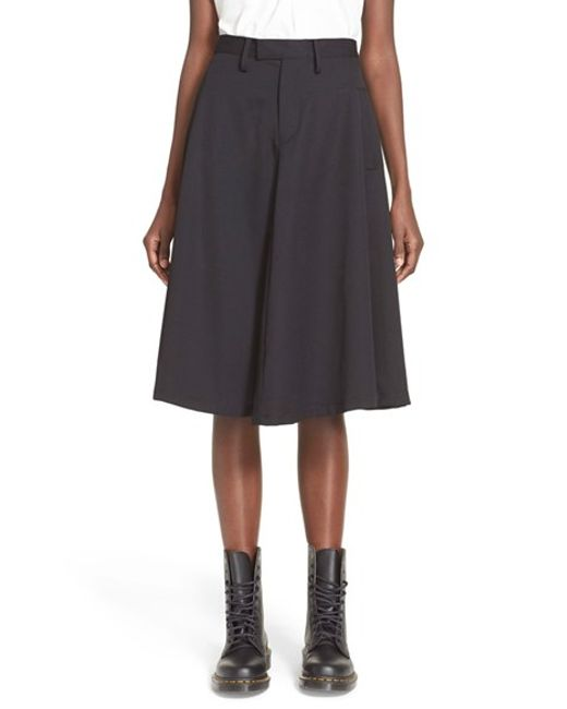 y s yohji yamamoto flared knee length wool skirt in black