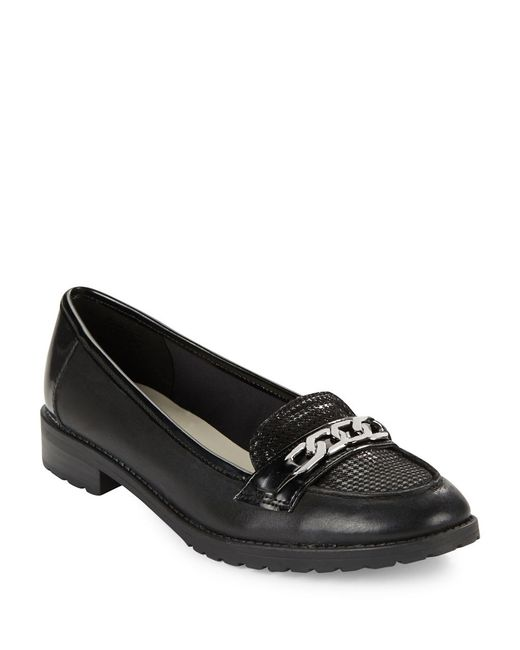 Anne Klein | Black Barlie Leather And Suede Loafers | Lyst