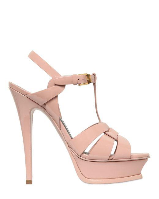 Saint Laurent | Pink - 'tribute' Sandals - Women - Calf Leather/leather - 38.5 | Lyst