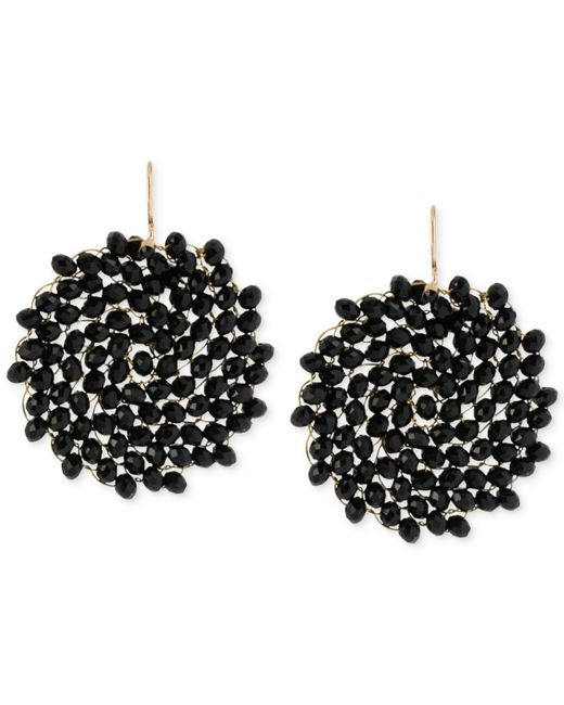 Kenneth Cole | Black Jet Faceted Woven Bead Round Drop Earrings | Lyst