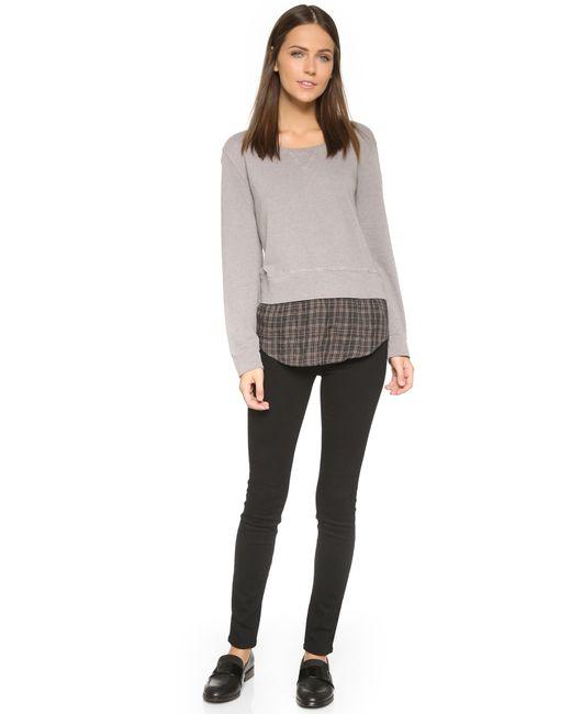 Monrow | Gray Double Layer Sweatshirt W/plaid | Lyst