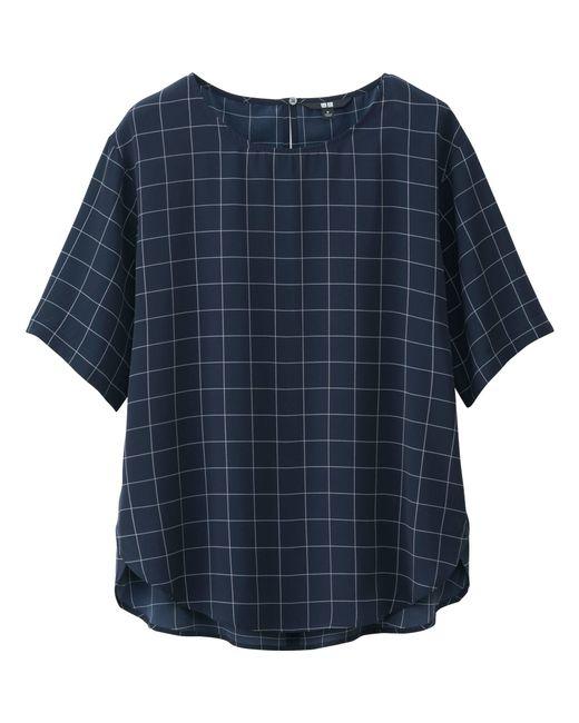 Womens Blue Short Sleeve Blouse 50