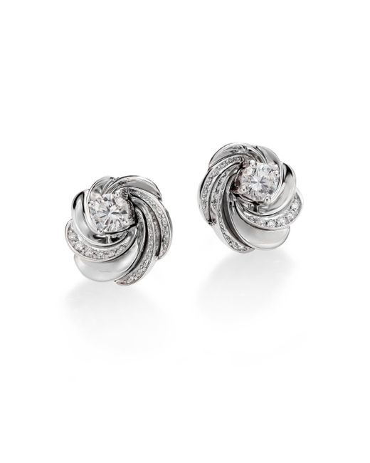 De Beers | Metallic Aria Diamond & 18k White Gold Signature Stud Earrings | Lyst