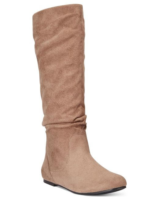 Wanted | Brown Toucan Tall Shaft Faux-fur Slouch Boots | Lyst