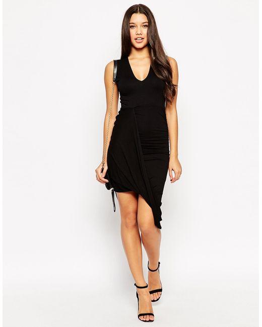ASOS | Dress With Drape Detail And V Neck - Black | Lyst