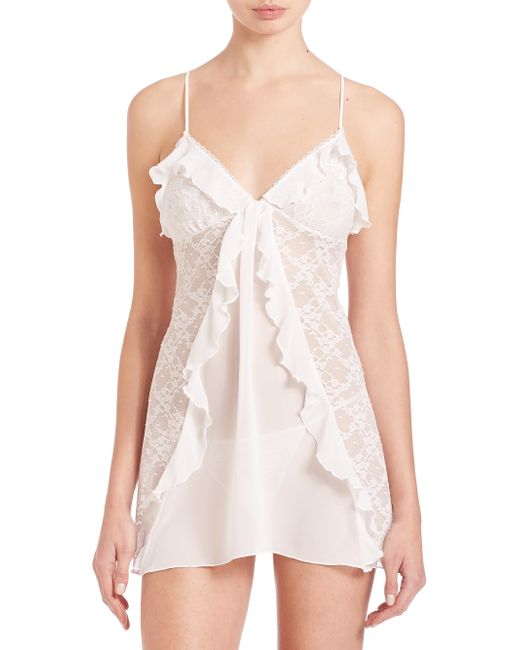 In Bloom | White Chiffon & Lace Chemise & Thong | Lyst