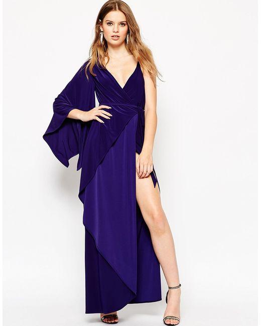 Asymmetric Drape Dress: Asos Asymmetric Drape Kimono Maxi Dress In Blue (Navy