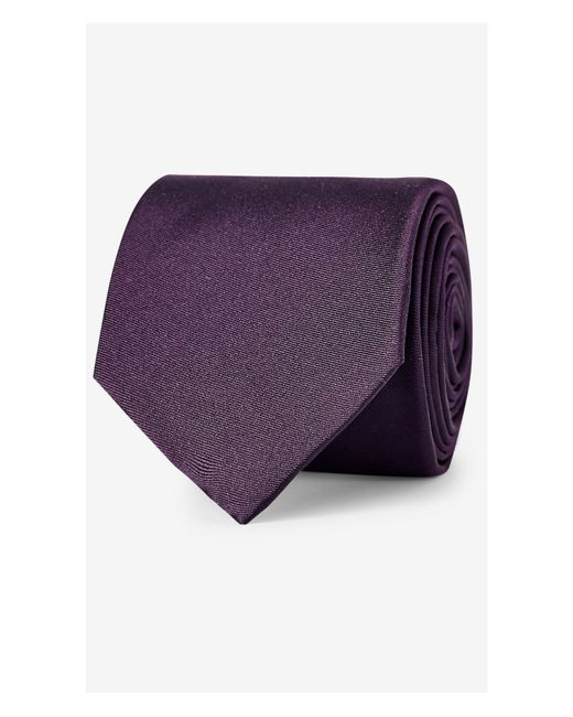 express lavender narrow solid color silk tie in purple for