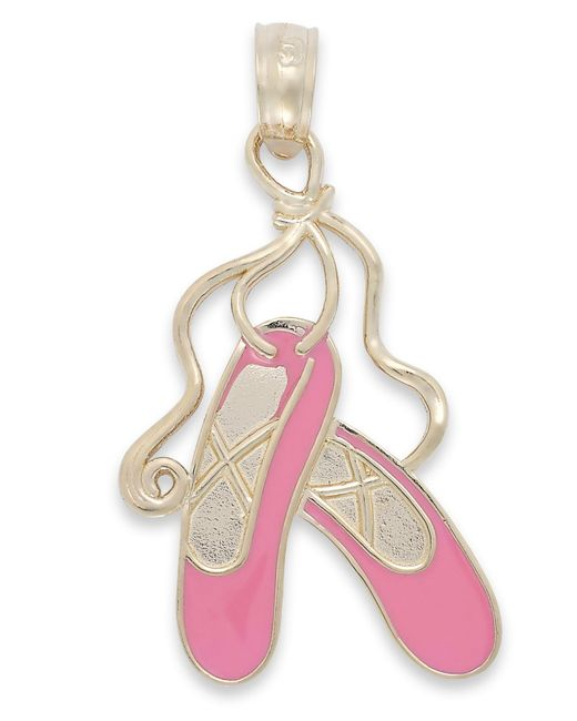 Macy's   Pink Enamel Ballet Slipper Charm In 14k Gold   Lyst